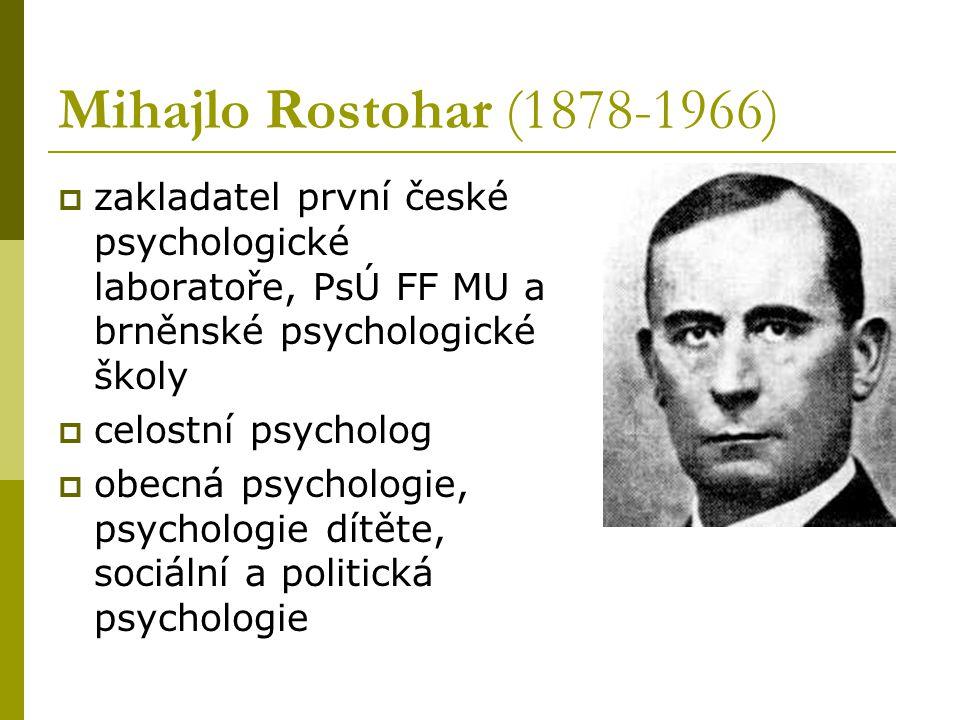 Mihajlo Rostohar (1878-1966) zakladatel první české psychologické laboratoře, PsÚ FF MU a brněnské psychologické školy.