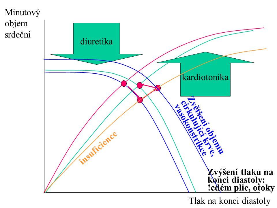 Minutový objem. srdeční. diuretika. insuficience. kardiotonika. Zvětšení objemu cirkulující krve, vasokonstrikce.