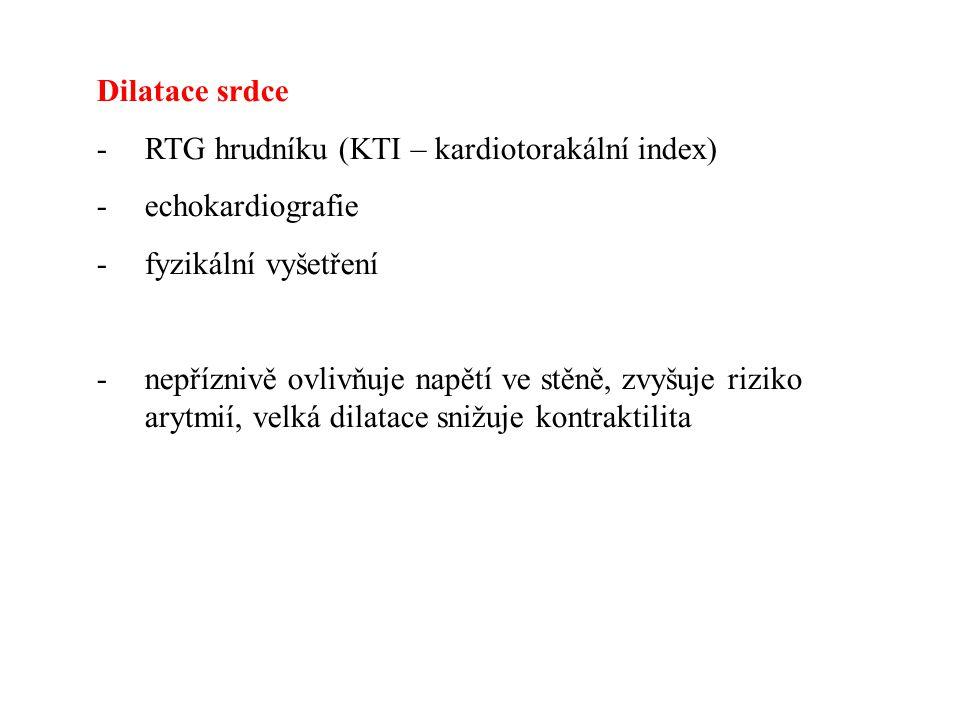 Dilatace srdce RTG hrudníku (KTI – kardiotorakální index) echokardiografie. fyzikální vyšetření.