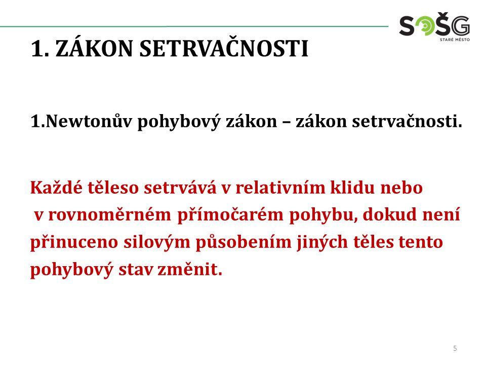 1. ZÁKON SETRVAČNOSTI 1.Newtonův pohybový zákon – zákon setrvačnosti.