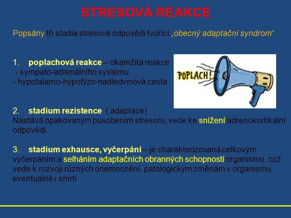 """STRESOVÁ REAKCE Popsány tři stadia stresové odpovědi tvořící """"obecný adaptační syndrom 1. poplachová reakce – okamžitá reakce."""
