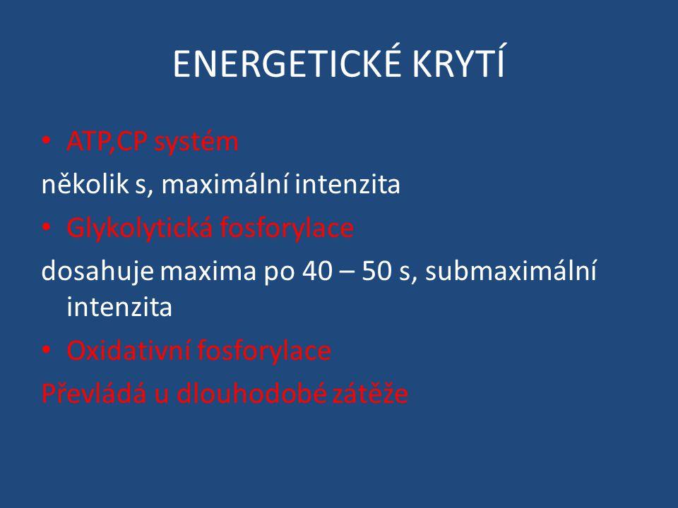 ENERGETICKÉ KRYTÍ ATP,CP systém několik s, maximální intenzita