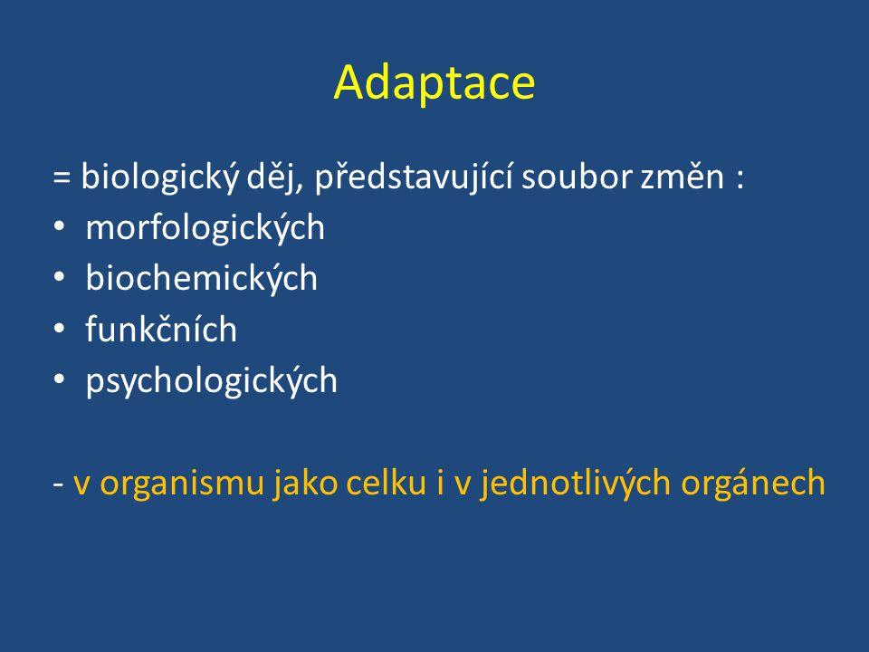 Adaptace = biologický děj, představující soubor změn : morfologických