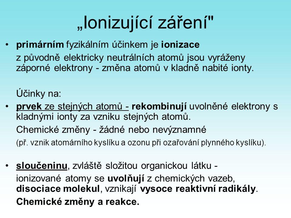 """""""Ionizující záření primárním fyzikálním účinkem je ionizace"""