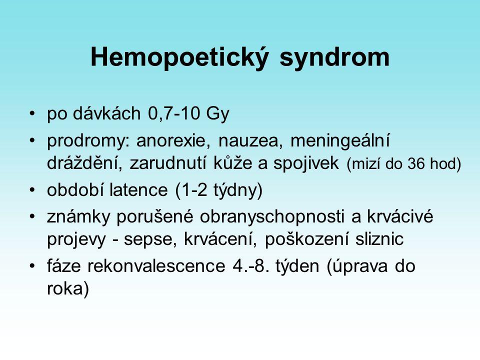 Hemopoetický syndrom po dávkách 0,7-10 Gy