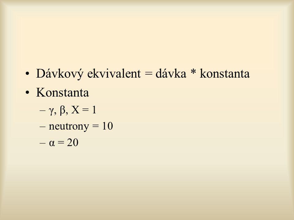 Dávkový ekvivalent = dávka * konstanta Konstanta