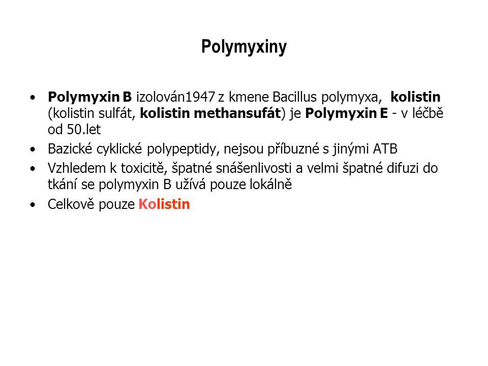 Polymyxiny Polymyxin B izolován1947 z kmene Bacillus polymyxa, kolistin (kolistin sulfát, kolistin methansufát) je Polymyxin E - v léčbě od 50.let.