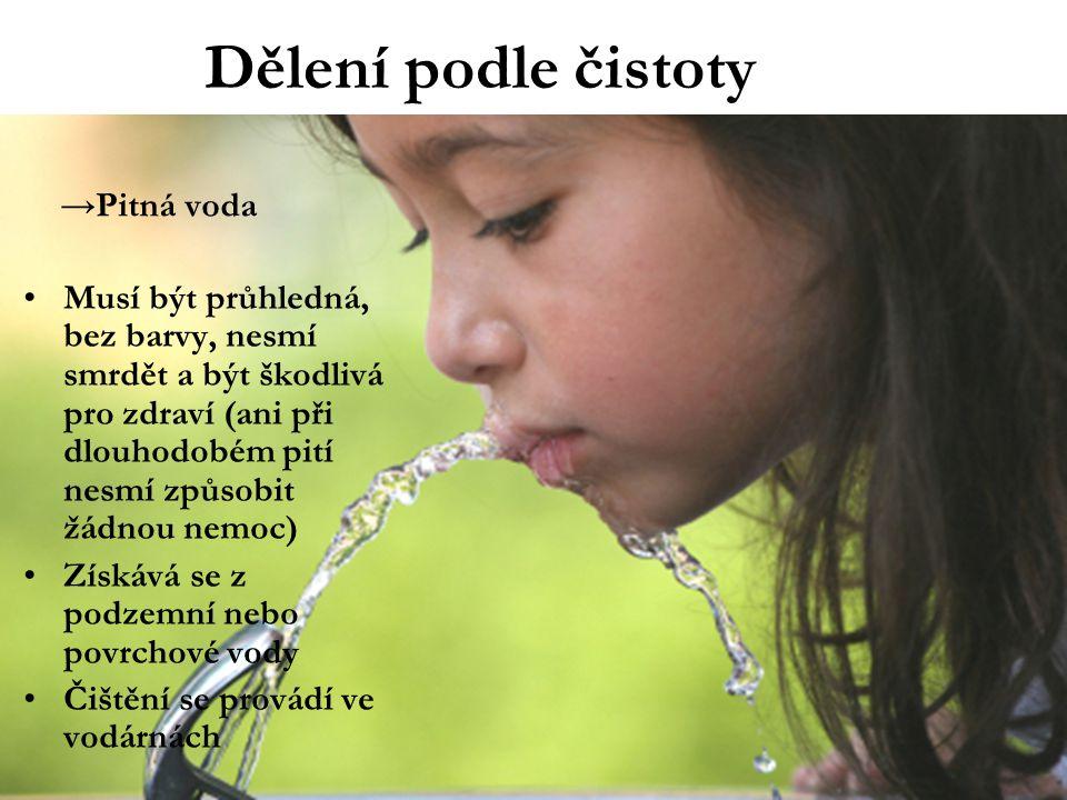 Dělení podle čistoty Pitná voda