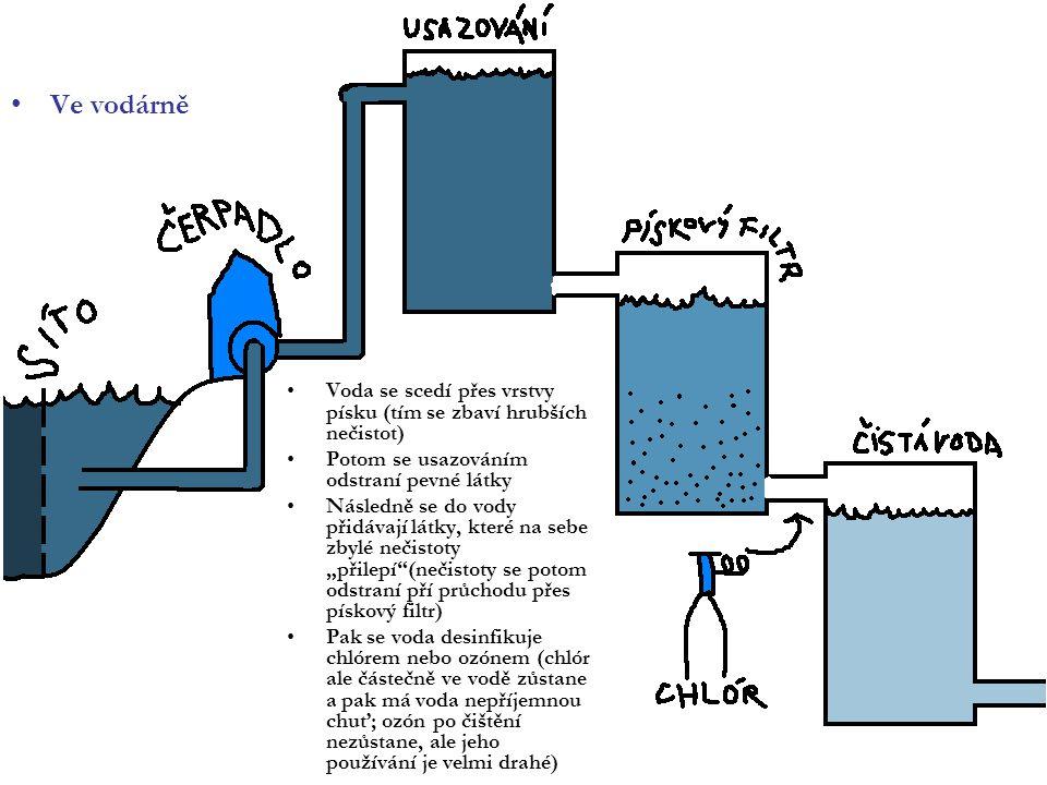 Ve vodárně Voda se scedí přes vrstvy písku (tím se zbaví hrubších nečistot) Potom se usazováním odstraní pevné látky.