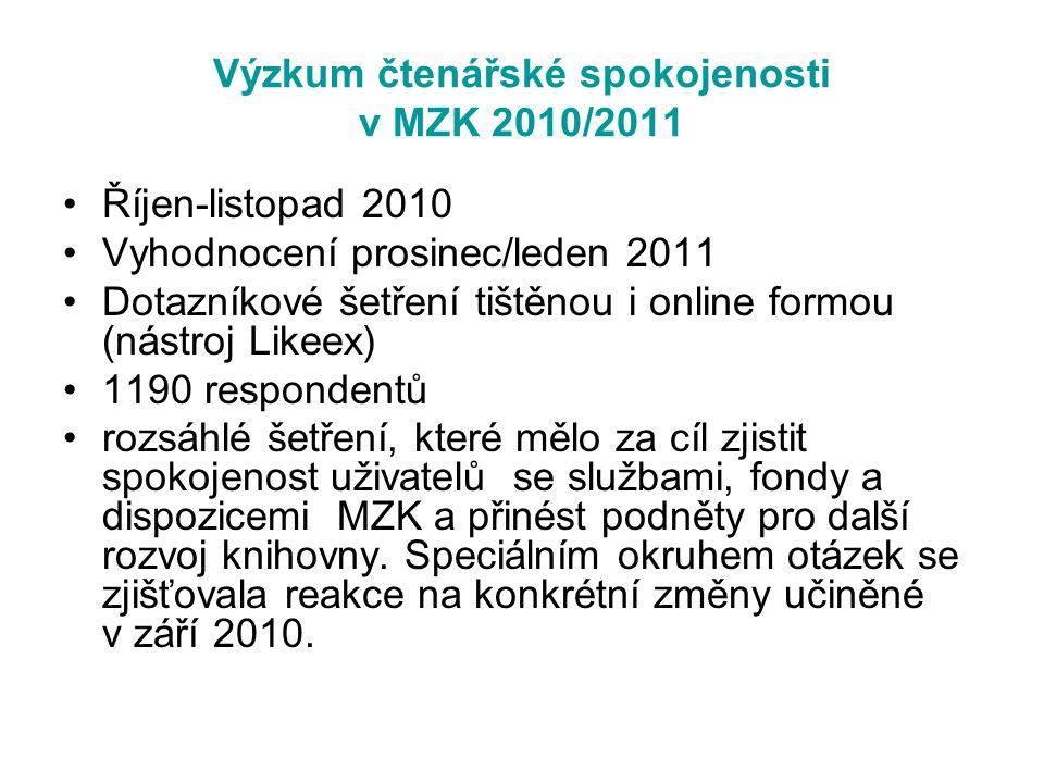 Výzkum čtenářské spokojenosti v MZK 2010/2011