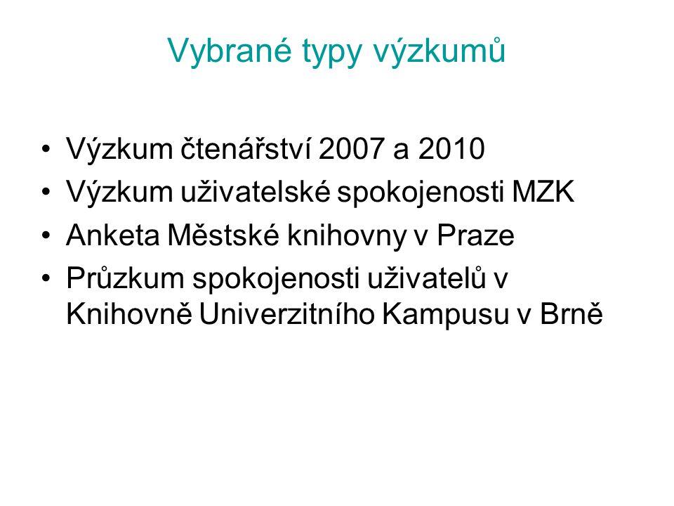 Vybrané typy výzkumů Výzkum čtenářství 2007 a 2010