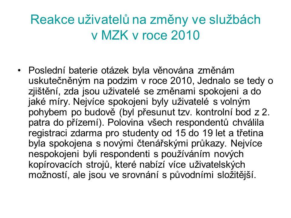 Reakce uživatelů na změny ve službách v MZK v roce 2010