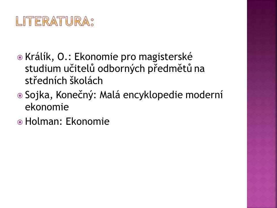 Literatura: Králík, O.: Ekonomie pro magisterské studium učitelů odborných předmětů na středních školách.