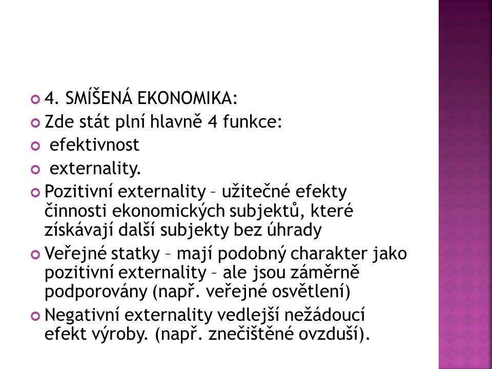 4. SMÍŠENÁ EKONOMIKA: Zde stát plní hlavně 4 funkce: efektivnost. externality.