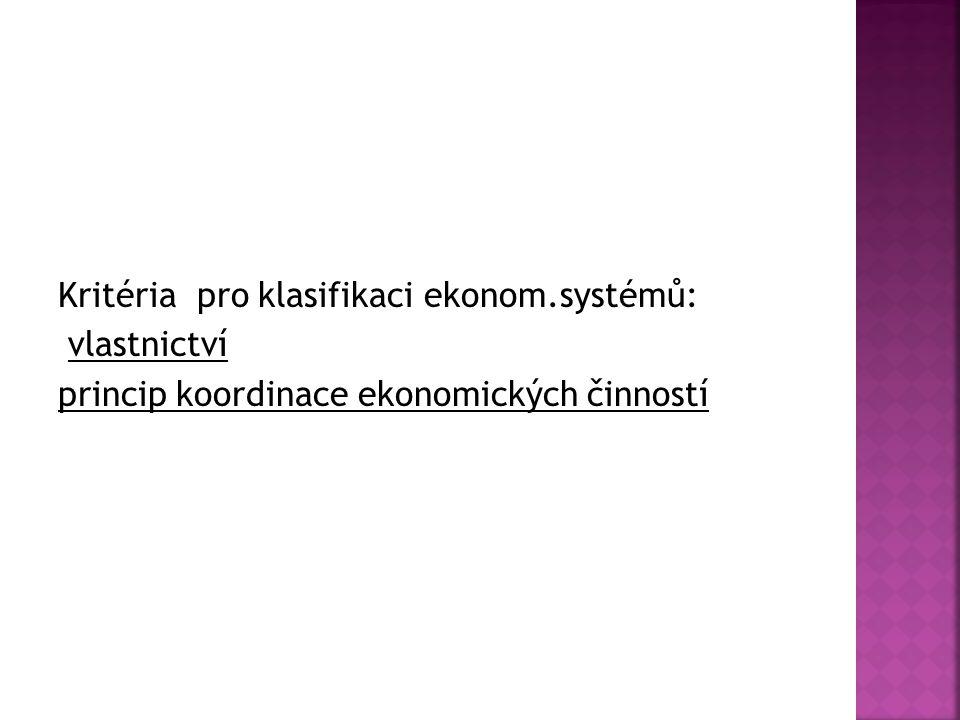 Kritéria pro klasifikaci ekonom