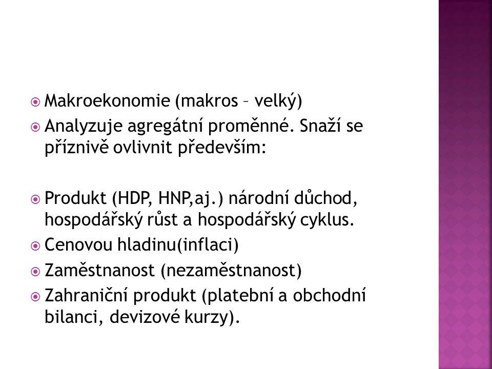 Makroekonomie (makros – velký)