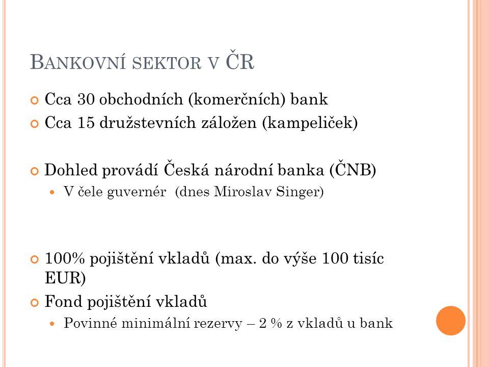 Bankovní sektor v ČR Cca 30 obchodních (komerčních) bank