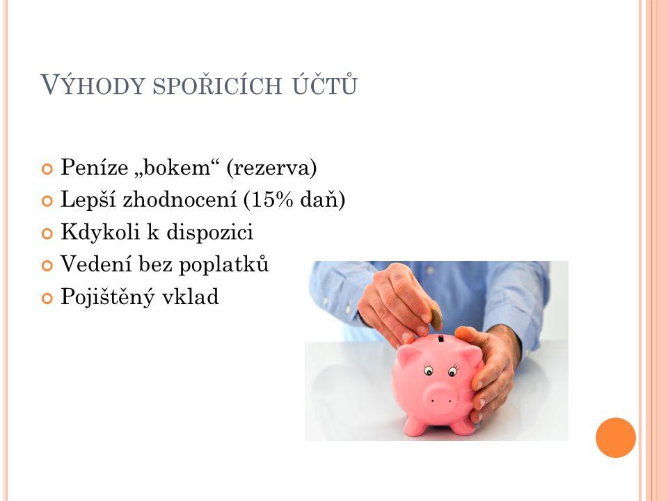 """Výhody spořicích účtů Peníze """"bokem (rezerva)"""