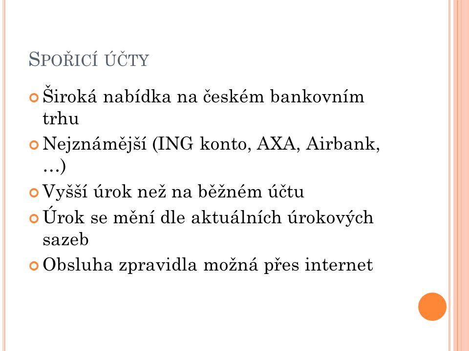 Spořicí účty Široká nabídka na českém bankovním trhu