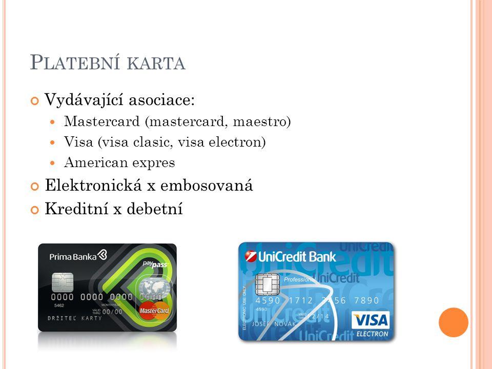 Platební karta Vydávající asociace: Elektronická x embosovaná