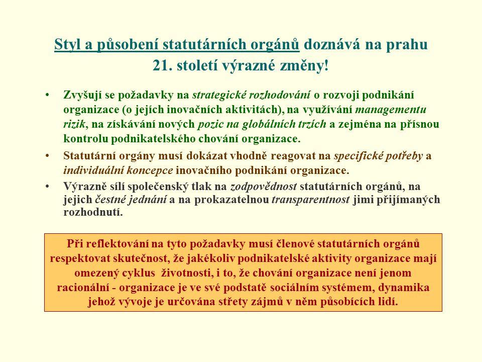 Styl a působení statutárních orgánů doznává na prahu 21