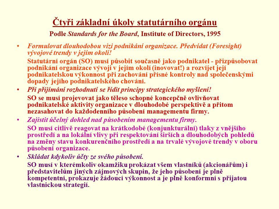 Čtyři základní úkoly statutárního orgánu Podle Standards for the Board, Institute of Directors, 1995