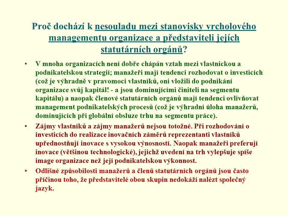 Proč dochází k nesouladu mezi stanovisky vrcholového managementu organizace a představiteli jejích statutárních orgánů