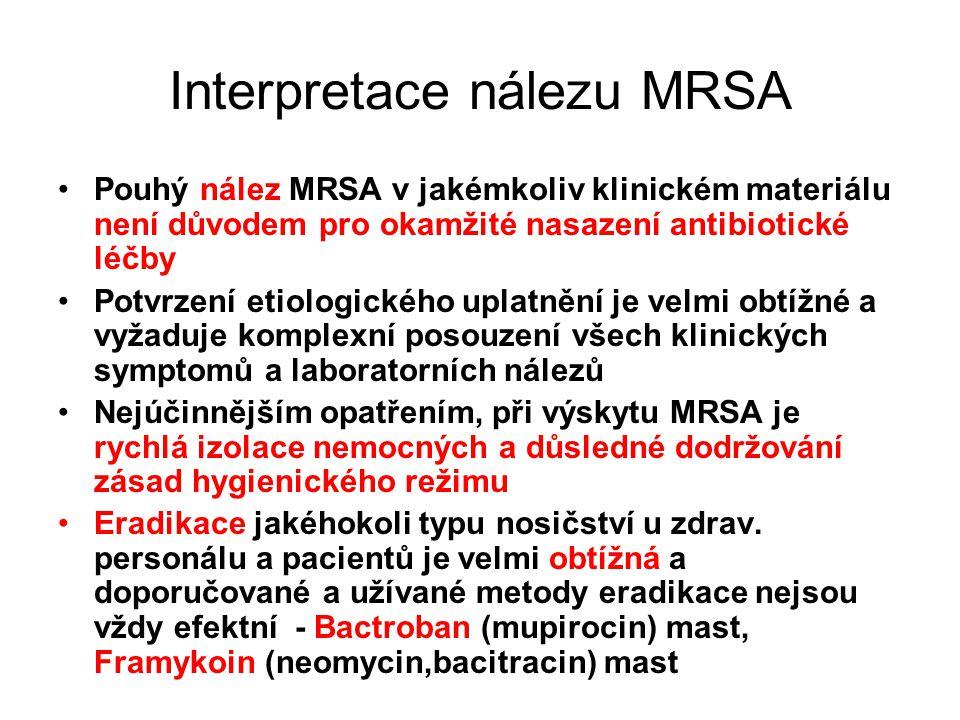 Interpretace nálezu MRSA
