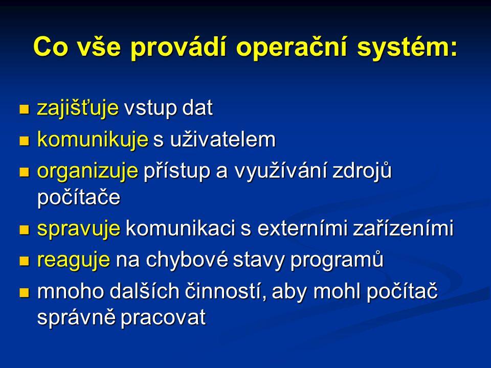 Co vše provádí operační systém: