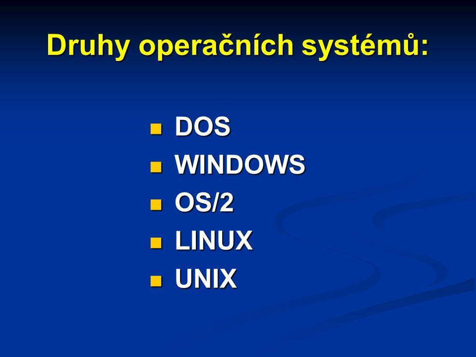 Druhy operačních systémů: