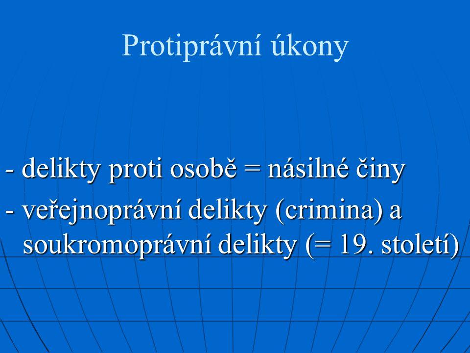 Protiprávní úkony - delikty proti osobě = násilné činy