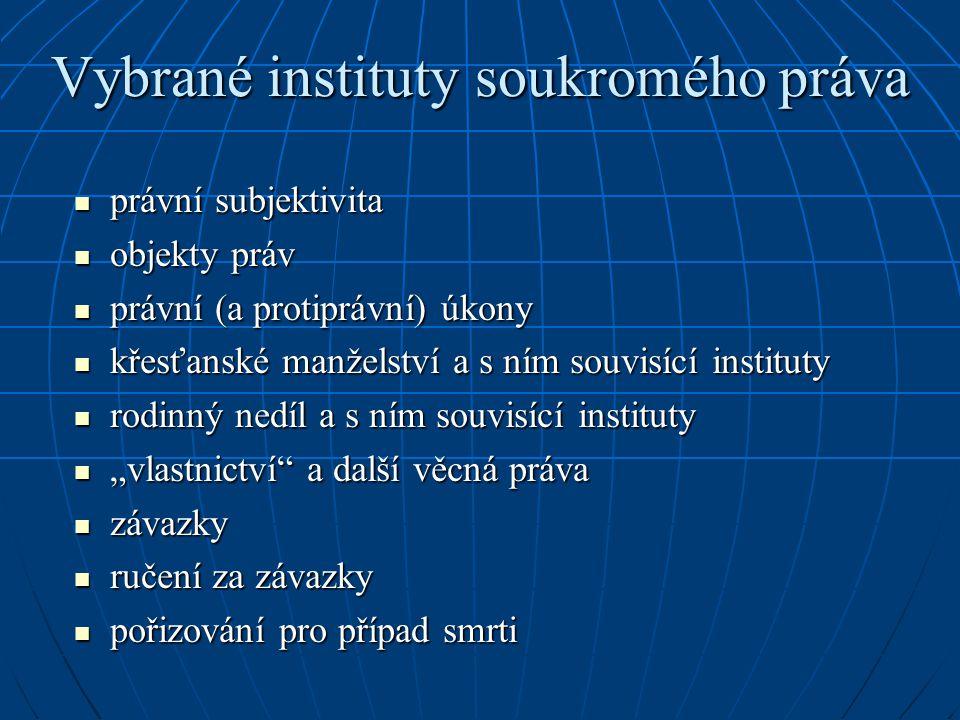 Vybrané instituty soukromého práva