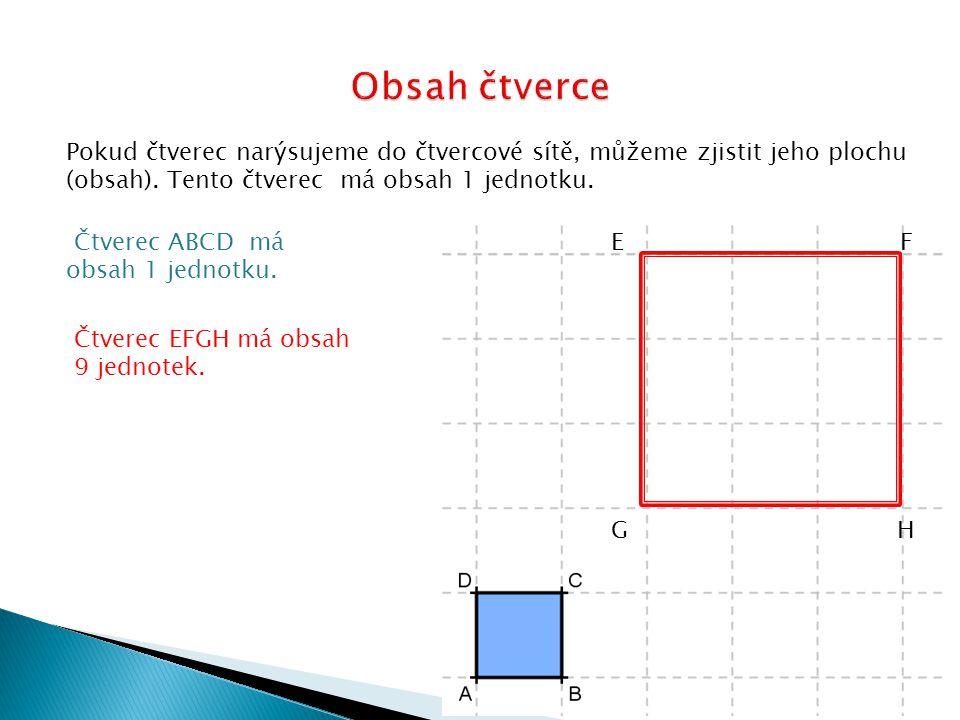 Obsah čtverce Pokud čtverec narýsujeme do čtvercové sítě, můžeme zjistit jeho plochu (obsah). Tento čtverec má obsah 1 jednotku.