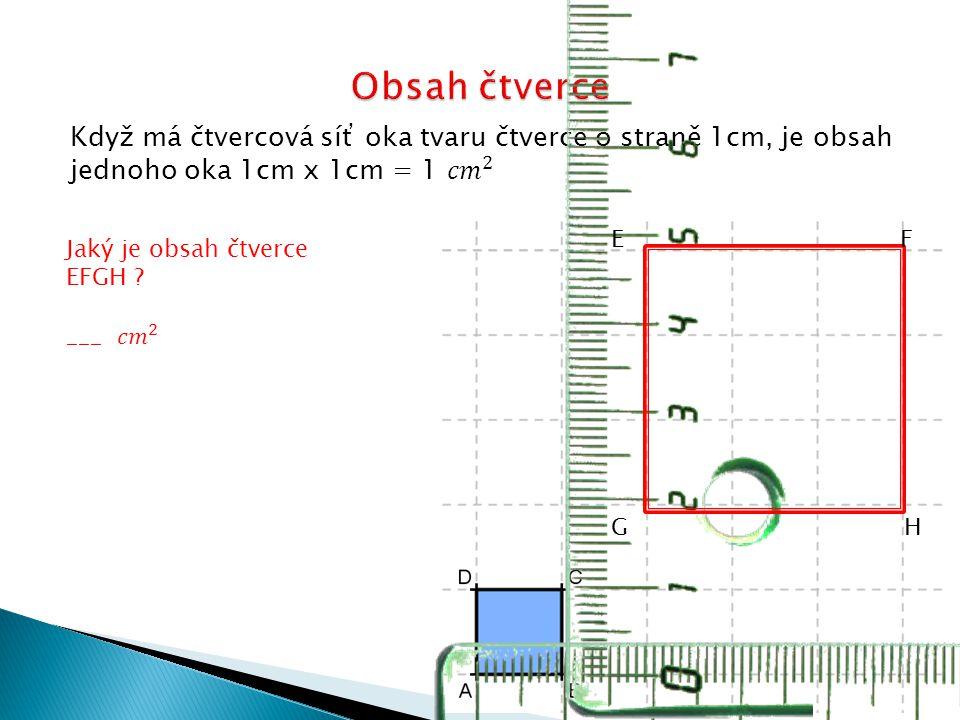 Obsah čtverce Když má čtvercová síť oka tvaru čtverce o straně 1cm, je obsah jednoho oka 1cm x 1cm = 1 𝑐𝑚 2.