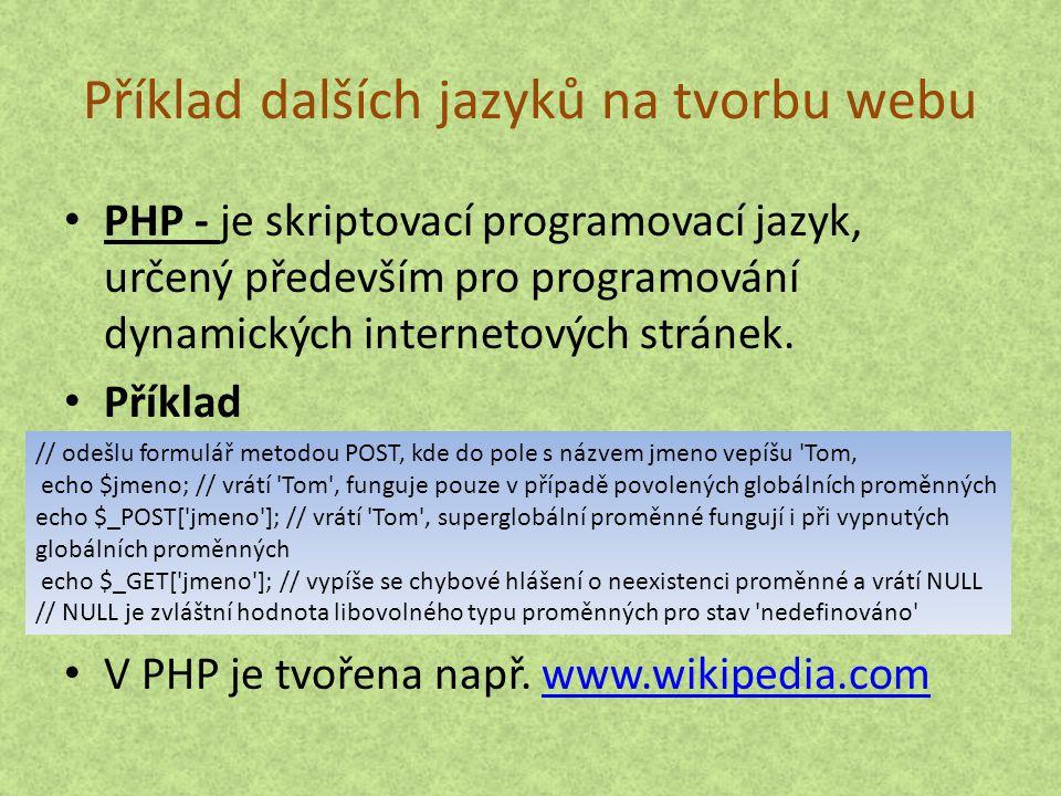 Příklad dalších jazyků na tvorbu webu