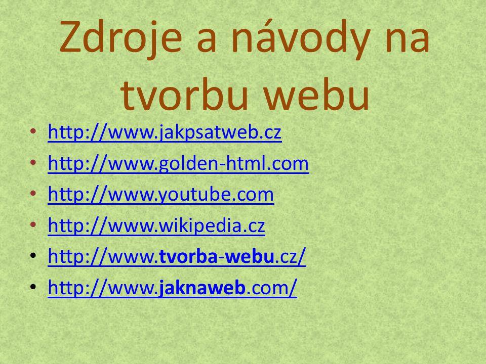 Zdroje a návody na tvorbu webu