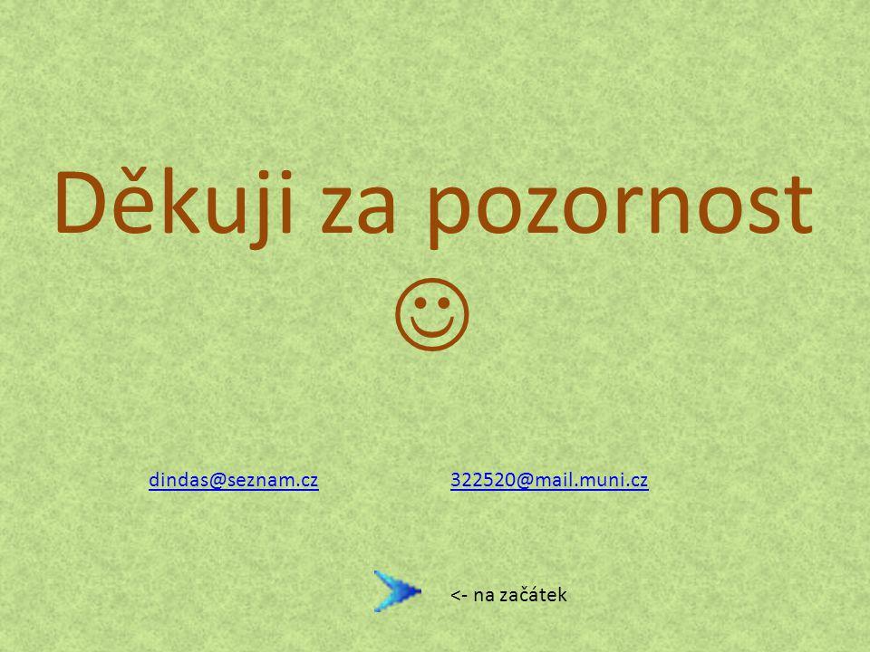 Děkuji za pozornost  dindas@seznam.cz 322520@mail.muni.cz