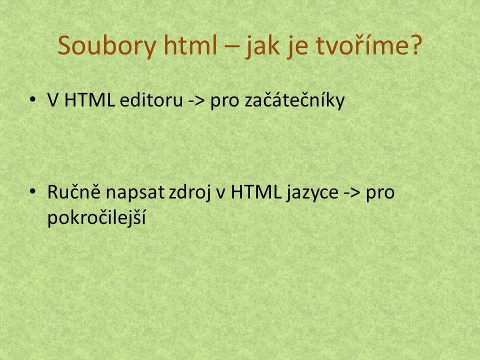 Soubory html – jak je tvoříme
