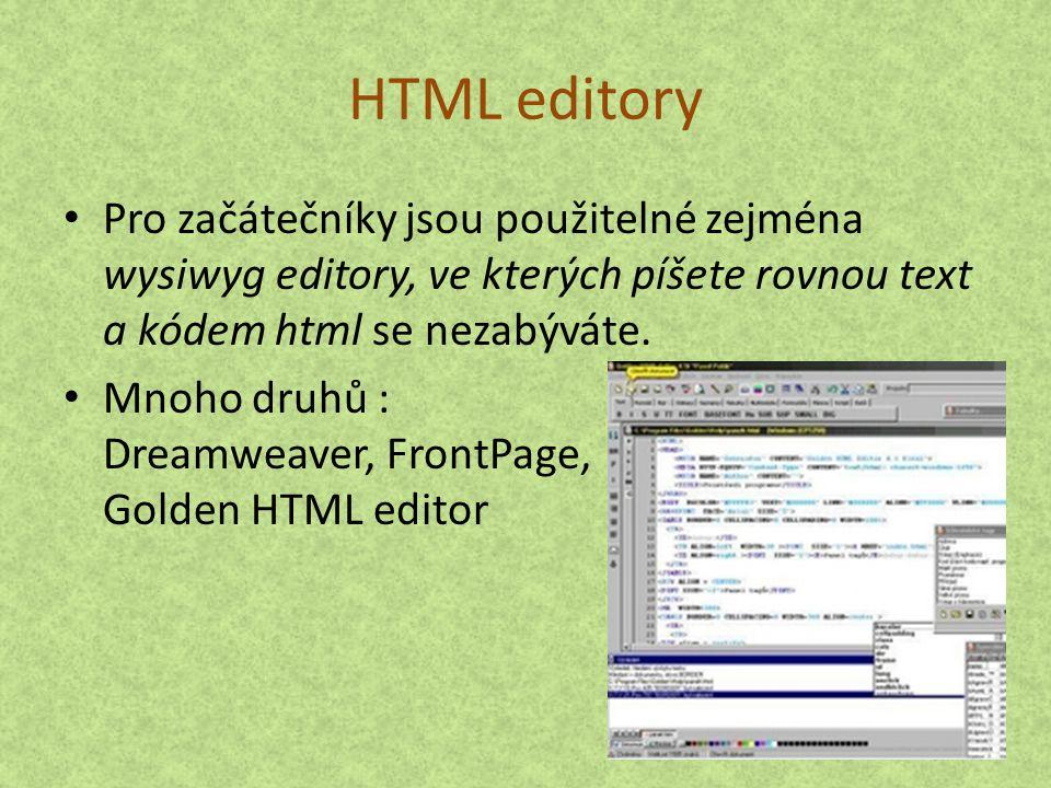 HTML editory Pro začátečníky jsou použitelné zejména wysiwyg editory, ve kterých píšete rovnou text a kódem html se nezabýváte.