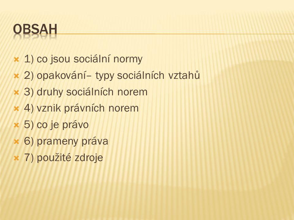 Obsah 1) co jsou sociální normy 2) opakování– typy sociálních vztahů