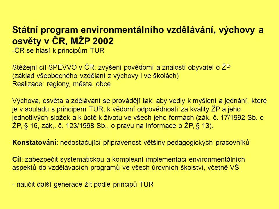 Státní program environmentálního vzdělávání, výchovy a osvěty v ČR, MŽP 2002