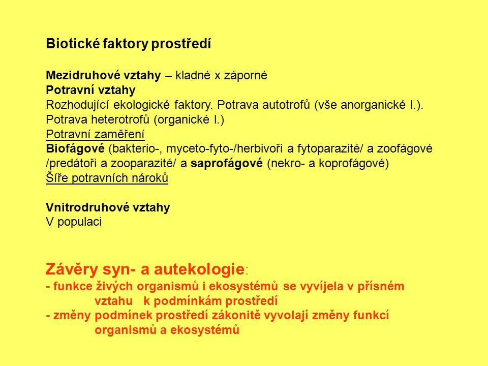 Závěry syn- a autekologie: