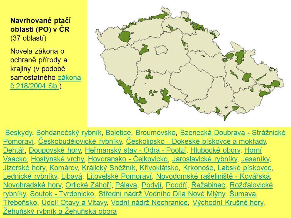 Navrhované ptačí oblasti (PO) v ČR (37 oblastí)
