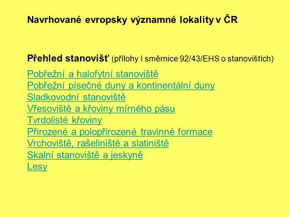 Navrhované evropsky významné lokality v ČR