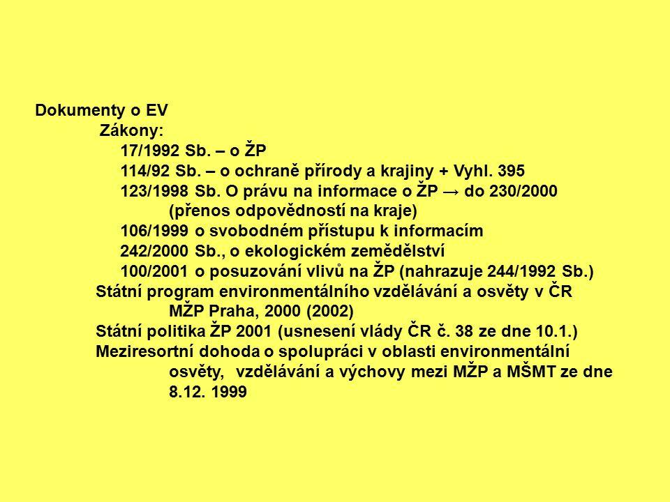 Dokumenty o EV Zákony: 17/1992 Sb. – o ŽP. 114/92 Sb. – o ochraně přírody a krajiny + Vyhl. 395.