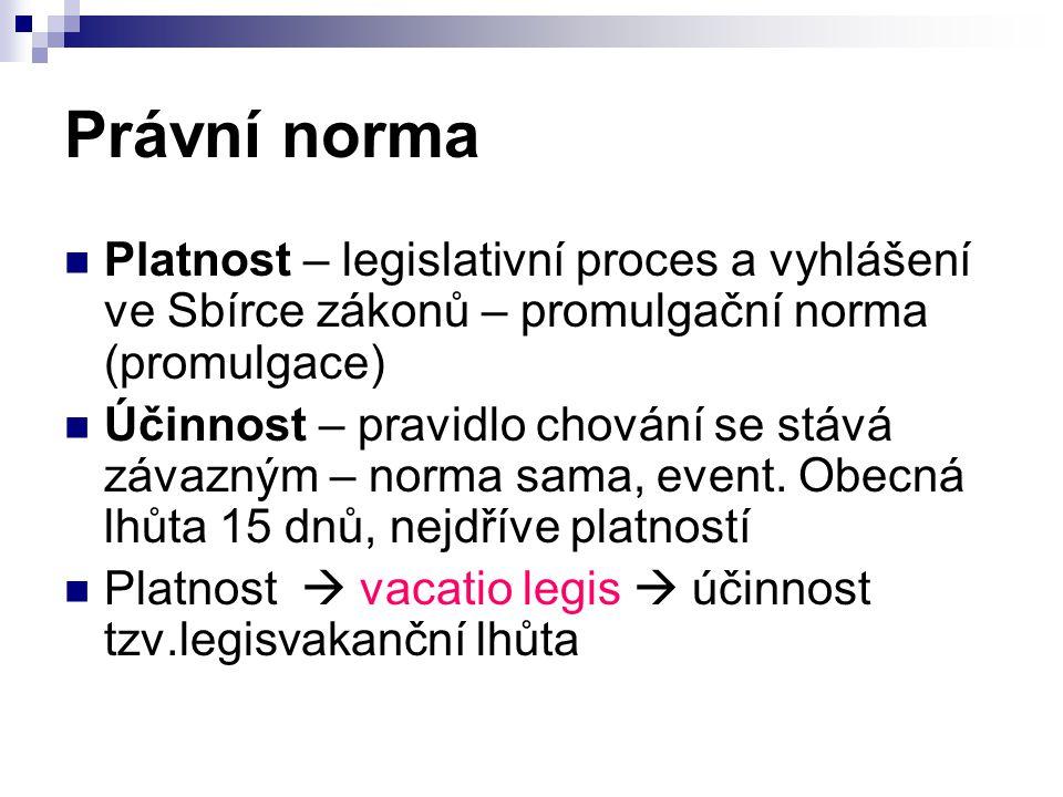 Právní norma Platnost – legislativní proces a vyhlášení ve Sbírce zákonů – promulgační norma (promulgace)