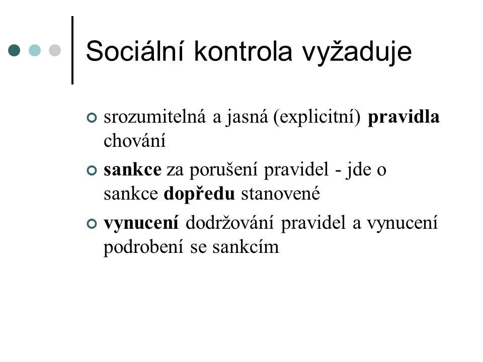 Sociální kontrola vyžaduje