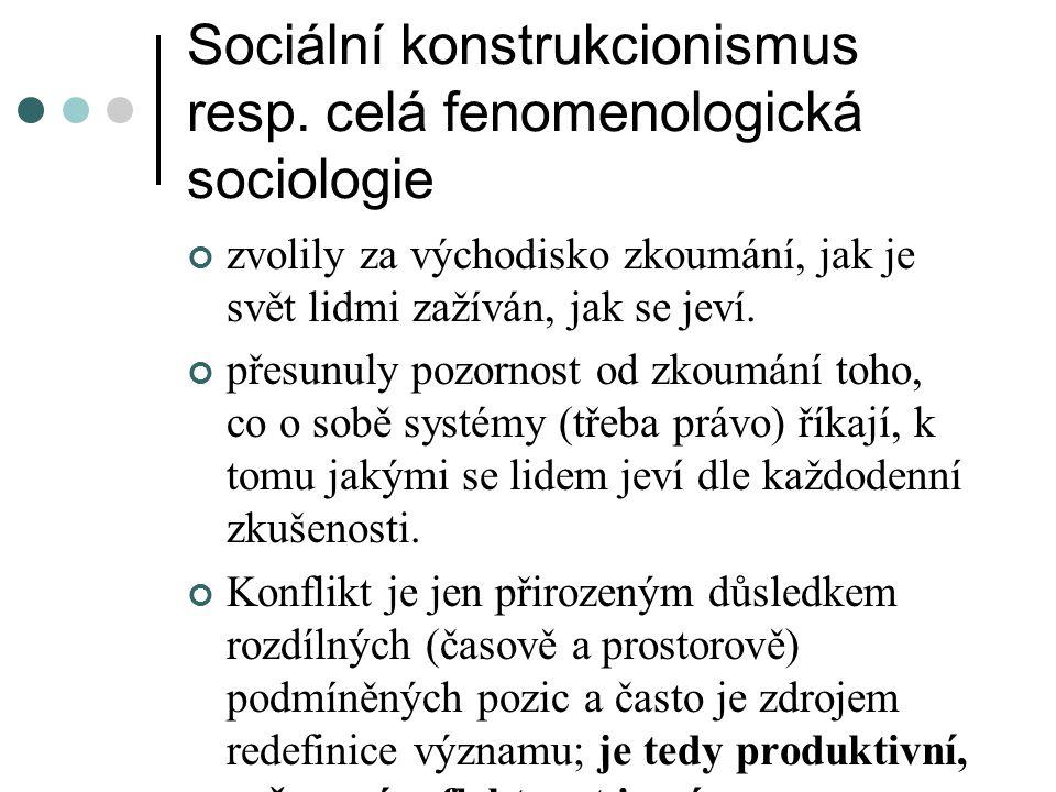Sociální konstrukcionismus resp. celá fenomenologická sociologie