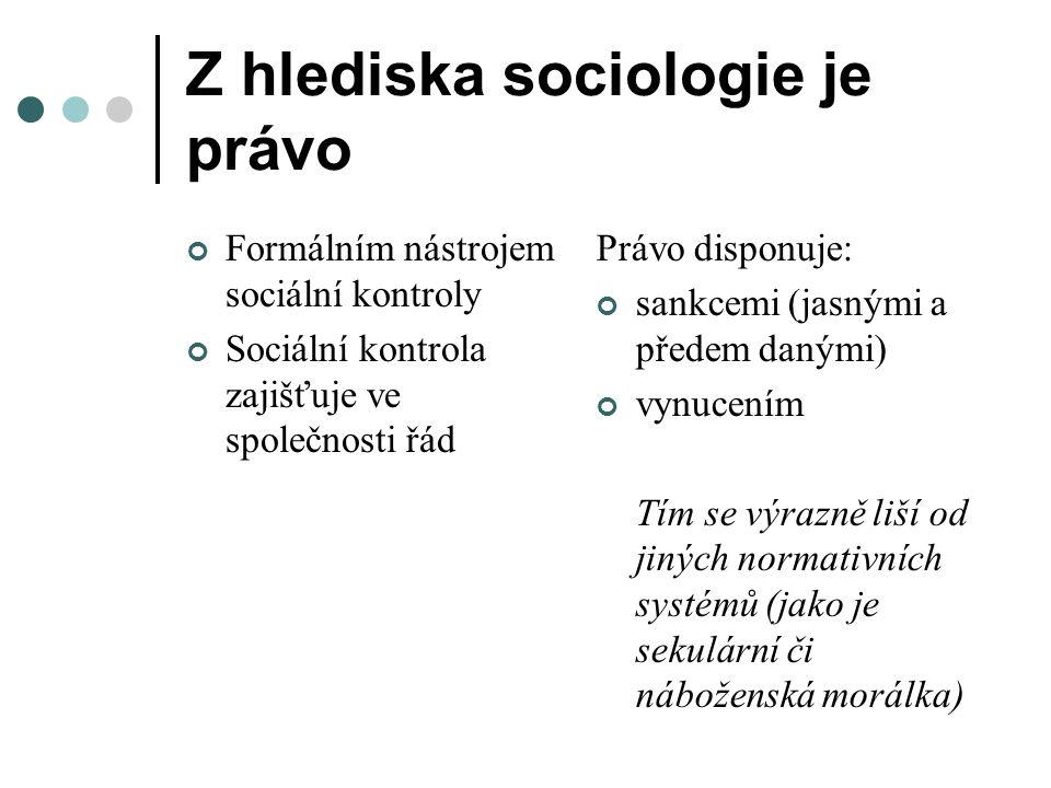 Z hlediska sociologie je právo