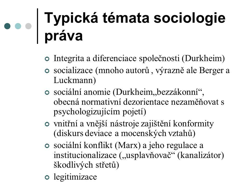 Typická témata sociologie práva